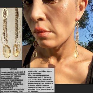 Genuine Citrine Long Teardrop Earrings, 14k Gold